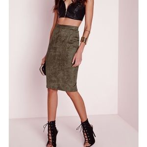 Misguided Faux Suede Midi Skirt